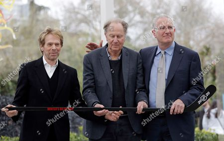 Tod Leiweke, David Bonderman, Jerry Bruckheimer. Part owners Jerry Bruckheimer, left, and David Bonderman pose with Tod Leiweke and a hockey stick during a news conference naming Leiweke as the president and CEO for a prospective NHL expansion team, in Seattle. Leiweke is the brother of Tim Leiweke, the CEO of the group heading the redevelopment of the arena which would serve as a home for a new hockey team. The group is seeking to have a team awarded in time to begin play in 2020