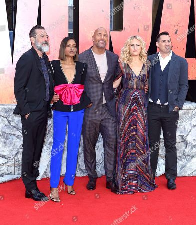 Stock Photo of Hiram Garcia, Wendy Jacobson, Jeffrey Dean Morgan, Naomie Harris, Dwayne Johnson, Malin Akerman, Brad Peyton, Beau Flynn and John Rickard