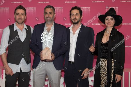 Moshe Ashkenazi, Omri Givon, Tomer Kapon and Ninet Tayeb pose with the Best Serie Award from 'When heroes fly' at the Canneseries Winners Photocall during the 1st Cannes International Series Festival at Palais des Festivals in Cannes, FRANCE, April 11, 2018  //NIVIERE_138NIV/Credit:David Niviere/SIPA/1804120005
