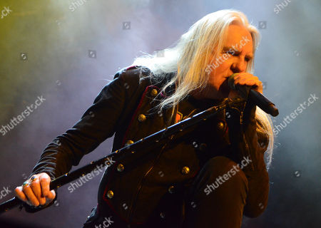 Lead singer Biff Byford of the band Saxon performs at the Resch Center in Green Bay, Wisconsin
