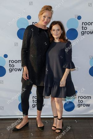 Uma Thurman, Julie Burns. Actress Uma Thurman, left, and founder of Room to Grow Julie Burns attend the 20th annual Room to Grow Spring benefit at The Lighthouse at Chelsea Piers, in New York