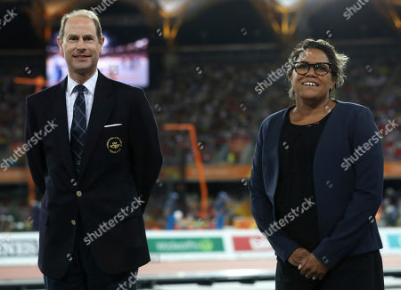 Prince Edward, Cathy Freeman. Duke of Wessex, Prince Edward, and Cathy Freeman wait to present the medals to the women's 400m winners at Carrara Stadium during the 2018 Commonwealth Games on the Gold Coast, Australia