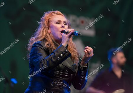 Carol Decker singer of T'Pau performs in the Aintree Pavillion