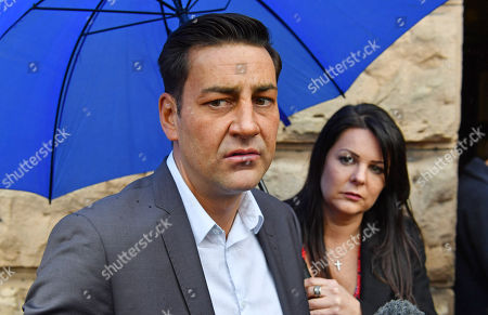 Editorial image of Andy Woodward . Former Footballer And Bennell Abuse Victim Andy Woodward With Partner Zelda Worthington Speaks Outside Chester Crown Court.- Barry Bennell Video Appearance At Chester Crown Court Cheshire. Pic Bruce Adams / Copy Hull - 22/3/14.