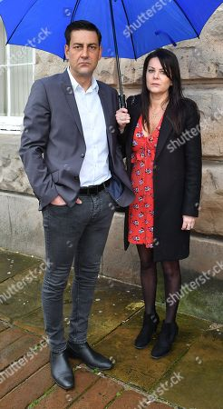 Andy Woodward . Former Footballer And Bennell Abuse Victim Andy Woodward With Partner Zelda Worthington Speaks Outside Chester Crown Court.- Barry Bennell Video Appearance At Chester Crown Court Cheshire.  - 22/3/14.