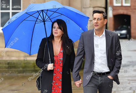 Editorial picture of Andy Woodward . Former Footballer And Bennell Abuse Victim Andy Woodward With Partner Zelda Worthington Speaks Outside Chester Crown Court.- Barry Bennell Video Appearance At Chester Crown Court Cheshire. Pic Bruce Adams / Copy Hull - 22/3/14.