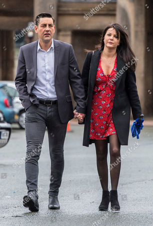 Stock Image of Andy Woodward . Former Footballer And Bennell Abuse Victim Andy Woodward With Partner Zelda Worthington Speaks Outside Chester Crown Court.- Barry Bennell Video Appearance At Chester Crown Court Cheshire.
