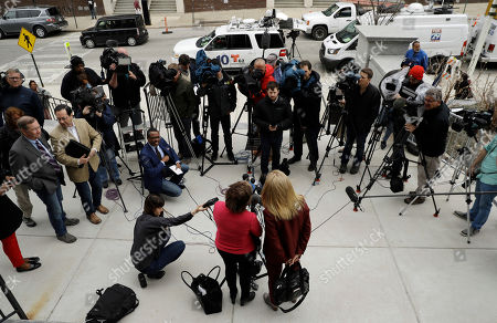 Attorneys Gloria Allred, left, and Lisa Bloom talk with the media during a break in Bill Cosby's sexual assault trial, at the Montgomery County Courthouse in Norristown, Pa
