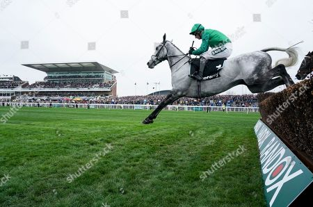 Bristol De Mai trained by Nigel Twiston-Davies and ridden by Daryl Jacob clears the last on the way to second in the Betway Bowl Chase