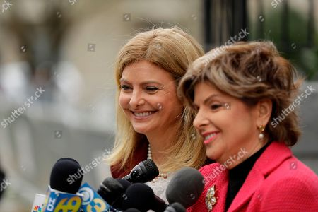 Stock Image of Attorneys Gloria Allred, right, and Lisa Bloom talk with the media during a break in Bill Cosby's sexual assault trial, at the Montgomery County Courthouse in Norristown, Pa