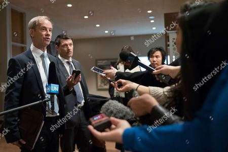 Swedish Ambassador to the United Nations Olof Skoog speaks to reporters in advance of Security Council consultations of the situation in Syria, at United Nations headquarters