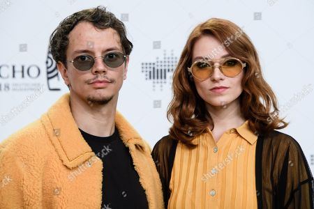 German musician Frans Zimmer (L) and company pose on the red carpet as she attends the 27th Echo 2018 music awards in Berlin, Germany, 12 April 2018. The awards are presented for outstanding achievement in the music industry.