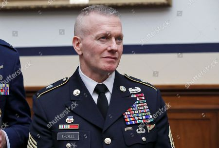 Senior Enlisted Advisor to the Chairman of the Joint Chiefs, Command Sgt. Major Command Sergeant Major John Wayne Troxell stands before a hearing of the House Armed Services Committee on the FY2019 budget, on Capitol Hill, in Washington