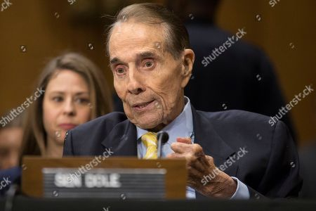 Former Senate Majority Leader Republican Bob Dole delivers remarks helping to introduce CIA Director Mike Pompeo during the Senate Foreign Relations Committee hearing on the nomination of Pompeo to be Secretary of State, on Capitol Hill in Washington, DC, USA, 12 April 2018. If confirmed, Pompeo would fill the vacancy left after US President Donald J. Trump fired Rex Tillerson.