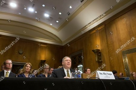 CIA Director Mike Pompeo appears before the Senate Foreign Relations Committee hearing on his nomination to be Secretary of State, on Capitol Hill in Washington, DC, USA, 12 April 2018. If confirmed, Pompeo would fill the vacancy left after US President Donald J. Trump fired Rex Tillerson.