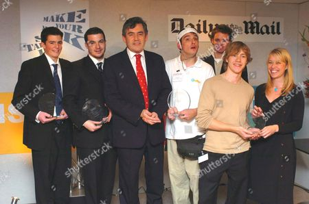 Gordon Brown with the Enterprising Young Brits Award winners.  From the left Fraser Doherty, Stefan Demetriou, Simon Stevens, Benjamin Shine with Tom and Anneka Bosanquet.