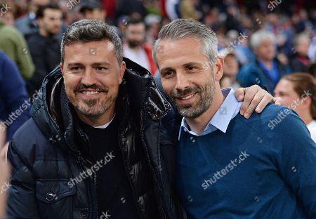 Former head coach of FC Salzburg Oscar Garcia (L) and Salzburg's current head coach Marco Rose (R) pose prior the UEFA Europa League quarter final second leg soccer match between RB Salzburg and SS Lazio in Salzburg, Austria, 12 April 2018.
