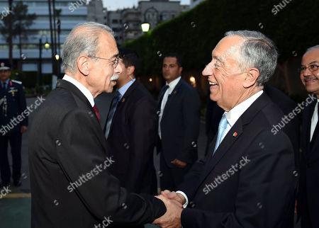 Stock Image of Sherif Ismail and Marcelo Rebelo de Sousa