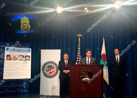 From left, Drug Enforcement Administration Acting Administrator Robert Patterson, Federal Bureau of Investigation Deputy Director David Bowdich, and U.S. Department of State Deputy Assistant Secretary James Walsh, speak at a news conference at the DEA headquarters in Arlington, Va., on . Rafael Caro Quintero, a Mexican drug kingpin convicted in the 1985 killing of a DEA agent was added to the FBI's list of most-wanted fugitives. Quintero was mistakenly released from a Mexican prison in 2013 while serving a 40-year sentence for the kidnapping and murder of DEA Special Agent Enrique Camarena Salazar