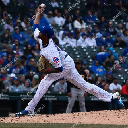 Chicago Cubs relief pitcher Carl Edwards Jr. (6) delivers during the ninth inning of a baseball game against the Pittsburgh Pirates, in Chicago