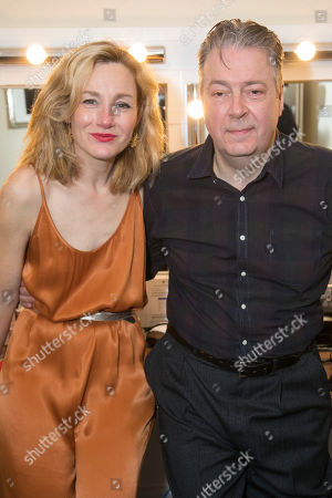 Nancy Carroll (Audrey Mildmay) and Roger Allam (John Christie) backstage
