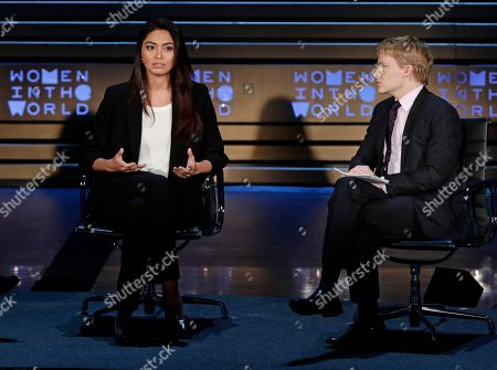 Ambra Battilana, Ronan Farrow. Italian model Ambra Battilana, left, speaks as Ronan Farrow looks on during the ninth annual Women in the World Summit, in New York