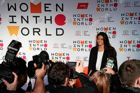 Italian model Ambra Battilana arrives at the ninth annual Women in the World Summit, in New York