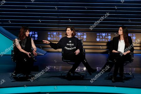 Laura Boldrini, Asia Argento, Ambra Battilana. Italian actress and director Asia Argento, left, Laura Boldrini, center, and model Ambra Battilana, right, speak at the ninth annual Women in the World Summit, in New York