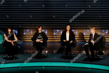 Ronan Farrow, Asia Argento, Laura Boldrini, Ambra Battilana. Ronan Farrow, right, leads a panel discussion with model Ambra Battilana, second from right, Laura Boldrini, second from left, and Asia Argento, left, at the ninth annual Women in the World Summit, in New York