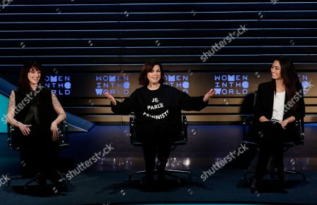 Asia Argento, Laura Boldrini, Ambra Battilana. Italian actress and director Asia Argento, left, and Italian model Ambra Battilana, right, react as Laura Boldrini, center, speaks at the ninth annual Women in the World Summit, in New York