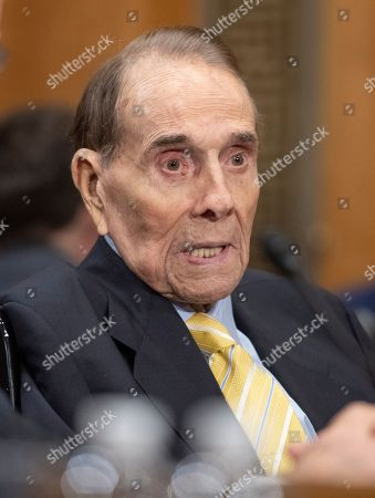 Former United States Senate Majority Leader Bob Dole (Republican of Kansas) endorses the nomination of CIA Director Mike Pompeo to be US Secretary of State before the US Senate Committee on Foreign Relations on Capitol Hill in Washington, DC.