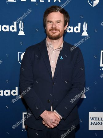 Joe Swanberg arrives at the 29th annual GLAAD Media Awards at the Beverly Hilton Hotel, in Beverly Hills, Calif