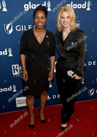 Pamela Stewart, Sarah Kate Ellis. Pamela Stewart, co-chair of the GLAAD national board of directors, left, and GLAAD President Sarah Kate Ellis arrives at the 29th annual GLAAD Media Awards at the Beverly Hilton Hotel, in Beverly Hills, Calif