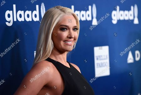 Erika Girardi, Erika Jayne. Erika Girardi, also known as Erika Jayne, arrives at the 29th annual GLAAD Media Awards at the Beverly Hilton Hotel, in Beverly Hills, Calif