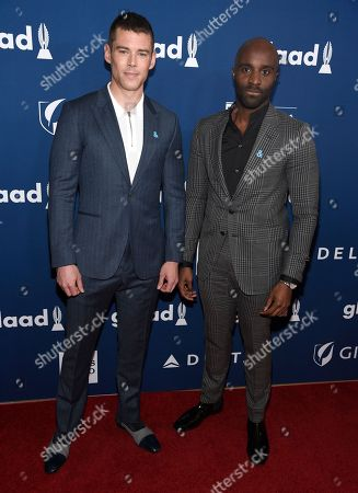 """Brian J. Smith, Toby Onwumere. Brian J. Smith, left, and Toby Onwumere, from the cast of """"Sense8,"""" arrive at the 29th annual GLAAD Media Awards at the Beverly Hilton Hotel, in Beverly Hills, Calif"""
