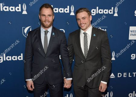 Matthew Wilkas, Gus Kenworthy. Matthew Wilkas, left, and Gus Kenworthy arrive at the 29th annual GLAAD Media Awards at the Beverly Hilton Hotel, in Beverly Hills, Calif