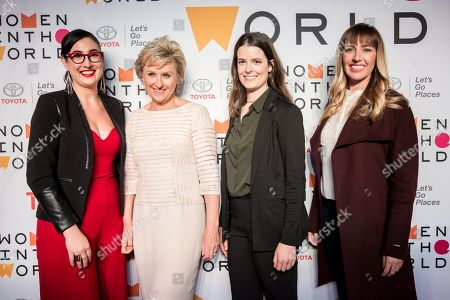 CEO & Co-Founder of Caribu Maxeme Tuchman (L), journalist Tina Brown (C-L), CEO and founder of Marinus Analytics Emily Kennedy (C-R) and Toyota Engineer Jackie Birdsall (R) pose for photographers on the red carpet at the Women in the World Summit in New York, New York, USA, 12 April 2018.