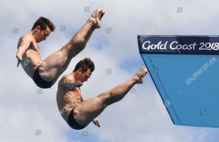 Thomas Daley and Daniel Goodfellow of Britain in action during the Men's Synchronised 10m Platform final on day nine of competition of the XXI Commonwealth Games, at the Gold Coast Aquatic Centre on the Gold Coast, Queensland, Australia, 13 April 2018.