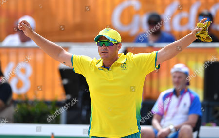 Aron Sherriff of Australia is seen reacting during the Lawn Bowl's Men's Fours Gold Medal match against the Scotland team of Ronald  Duncan, Derek Oliver, Paul Foster and Alexander Marshall at the XXI Commonwealth Games at the Broadbeach Bowls Club on the Gold Coast, Australia, 13 April 2018.