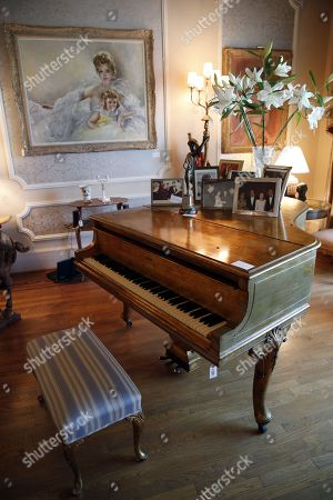 A Steinway Model M Grand Piano used in the movie 'Behind the Candelabra', which belonged to the late Hungarian-American actress Zsa Zsa Gabor, is displayed along with paintings and pictures at the 'Hello Dal-ling: The Estate of Zsa Zsa Gabor' auction by Heritage Auctions at the actress' residence in Bel Air, California, USA, 12 April 2018. The live auction will take place 14 April 2018.