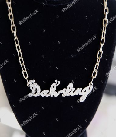 A cute diamond and 14 K gold necklace with Zsa Zsa Gabor's famous saying 'Dah-ling' spelled out in diamonds is displayed at the 'Hello Dal-ling: The Estate of Zsa Zsa Gabor' auction by Heritage Auctions at the late actress residence in Bel Air, California, USA, 12 April 2018. The live auction will take place 14 April 2018.