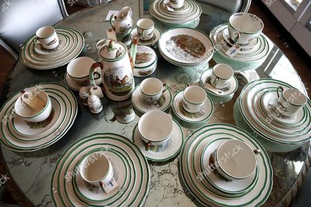 An Eighty-nine piece Copeland Spode Herring Hunt Pattern Earthenware Service belonging to the late Hungarian-American actress Zsa Zsa Gabor is displayed at the 'Hello Dal-ling: The Estate of Zsa Zsa Gabor' auction by Heritage Auctions at the actress' residence in Bel Air, California, USA, 12 April 2018. The live auction will take place 14 April 2018.