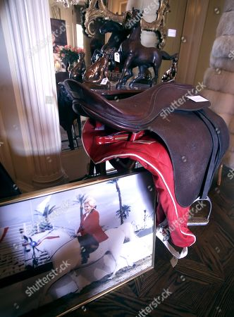 A saddle given to the late Hungarian-American actress Zsa Zsa Gabor by late US President Ronald Reagan is displayed at the 'Hello Dal-ling: The Estate of Zsa Zsa Gabor' auction by Heritage Auctions at the actress' residence in Bel Air, California, USA, 12 April 2018. The live auction will take place 14 April 2018.