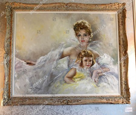 A Fried Pal painting of the late Hungarian-American actress Zsa Zsa Gabor and her daughter Francesca is displayed at the 'Hello Dal-ling: The Estate of Zsa Zsa Gabor' auction by Heritage Auctions at the actress' residence in Bel Air, California, USA, 12 April 2018. The live auction will take place 14 April 2018.