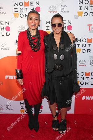 Stock Picture of Zainab Salbi, Donna Karan. Founder of Women for Women International Zainab Salbi, left, and designer Donna Karan
