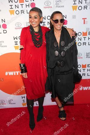 Stock Photo of Zainab Salbi, Donna Karan. Founder of Women for Women International Zainab Salbi, left, and designer Donna Karan
