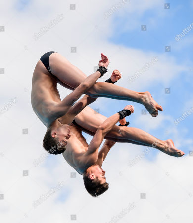 Thomas Daley and Daniel Goodfellow of England in the Men's Synchronised 10m Platform Final on Day Nine of the Gold Coast Commonwealth Games 2018.