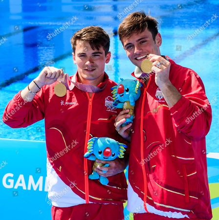 Thomas Daley and Daniel Goodfellow of England with their Gold Medals in the Men's Synchronised 10m Platform Final on Day Nine of the Gold Coast Commonwealth Games 2018.
