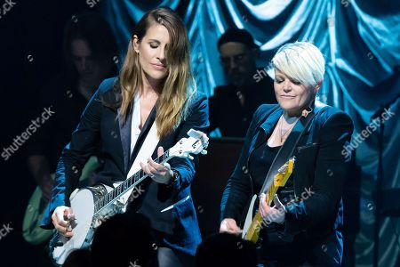 Emily Robison and Natalie Maines of The Dixie Chicks perform in concert during the Mack, Jack & McConaughey Gala