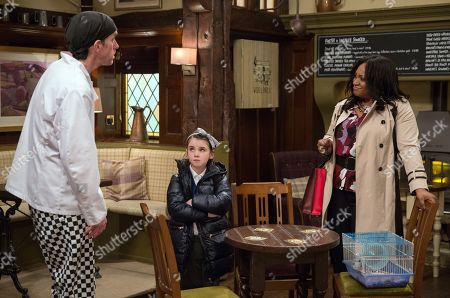 Ep 8124 Monday 16th April 2018 Jessie, as played by Sandra Marvin, orders Marlon Dingle, as played by Mark Charnock, to explain everything to April Windsor's, as played by Amelia Flanagan, class about the gerbil, secretly enjoying winding him up.